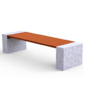 Banca stradala fara spatar din granit si rigle din lemn tropical UM463