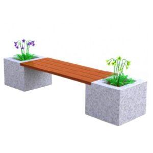 Banca stradala cu jardiniere din granit si rigle din lemn tropical UM464