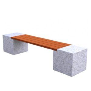 Banca stradala din granit si rigle din lemn tropical UM465