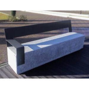 Banca stradala din granit si otel zincat cu spatar si cotiera UM460