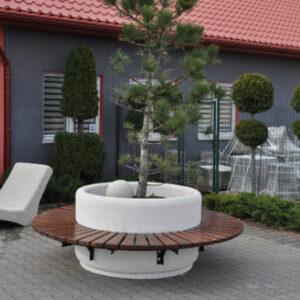 Banca rotunda cu jardiniera din beton UM1848